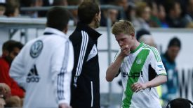 Kevin De Bruyne shows his frustration after picking up a red card against Augsburg.