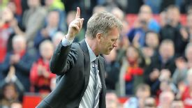 David Moyes salutes the fans after Manchester United's 4-1 victory over Aston Villa.