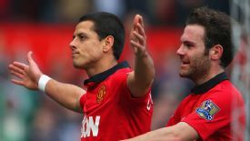 Javier Hernandez celebrates after rounding off the scoring in United's 4-1 win.