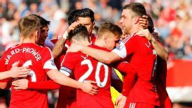 Southampton's Rickie Lambert celebrates with his teammates.