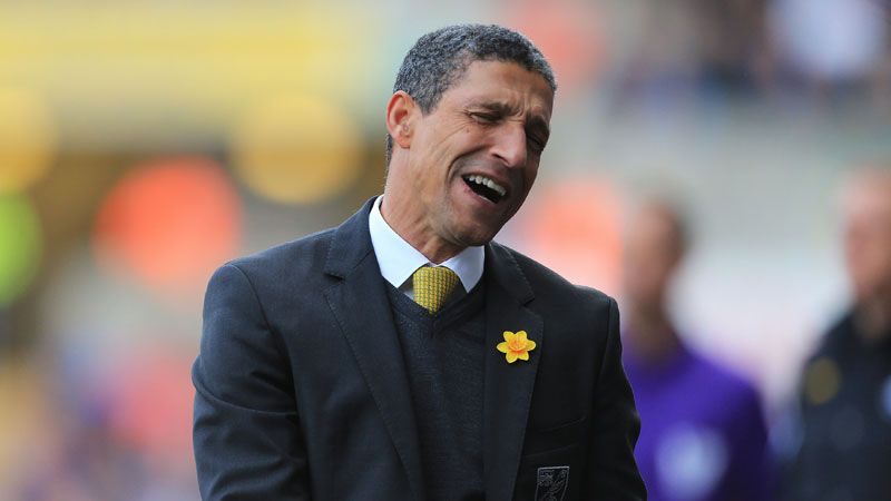 Norwich City manager Chris Hughton shows his dejection