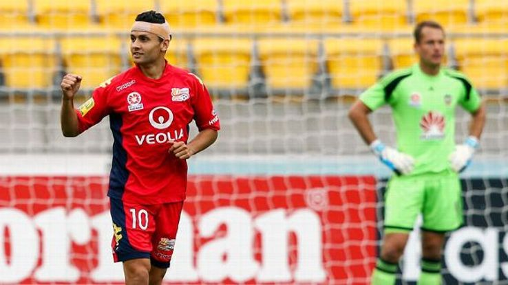 Marcelo Carrusca celebrates after scoring the only goal against Wellington Phoenix.