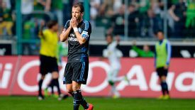 Rafael van der Vaart shows his frustration.