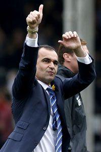 Roberto Martinez celebrates Everton's success at Fulham.