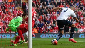 Younes Kaboul diverts the ball into his own net to give Liverpool the early advantage.