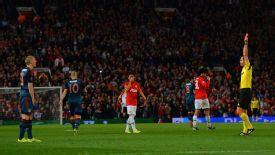 Bastian Schweinsteiger red card Man Utd vs BAyern Munich