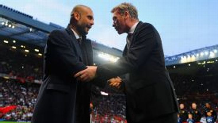 David Moyes and Pep Guardiola exchange a handshake before the game at Old Trafford.