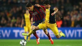 Diego Costa was withdrawn with a hamstring injury following a tussle with Marc Bartra.