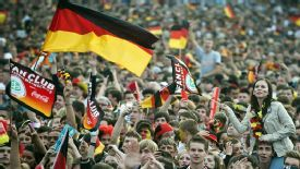 German fans at the Brandenburg Gate in Berlin for the Euro 2012 game between Germany and the Netherlands.