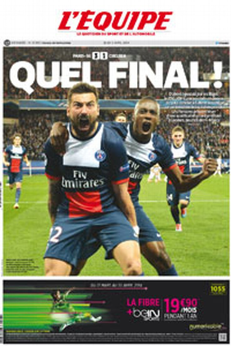 Ezequiel Lavezzi and Blaise Matuidi celebrate PSG's Champions League victory against Chelsea on the cover of L'Equipe.