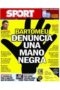 Barcelona-based newspaper Sport used this dramatic image on Friday's front page.