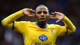 Jason Puncheon celebrates his second and Palace's third against Cardiff.