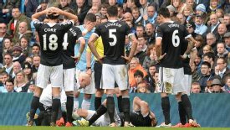 Jay Rodriguez suffered a knee injury in the first half at Manchester City.