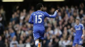 Mohamed Salah celebrates after giving Chelsea the lead against Stoke.