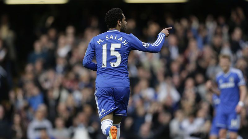 Mohamed Salah celebrates after giving Chelsea the lead against Stoke.