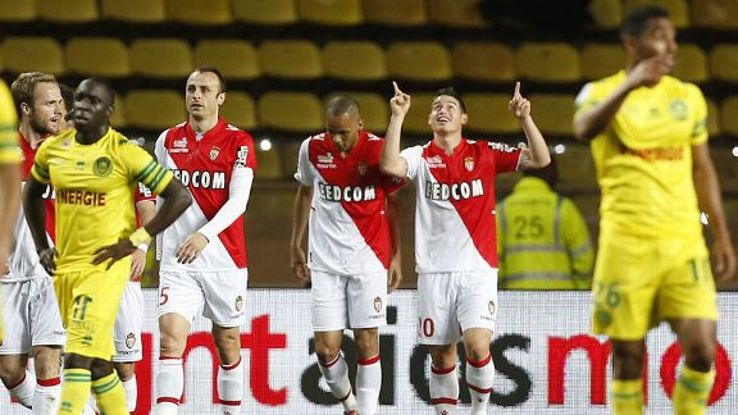 James Rodriguez celebrates his goal for Monaco against Nantes.