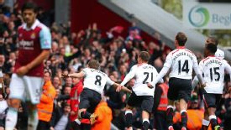 Steven Gerrard wheels away after making it 2-1 to Liverpool from the penalty spot.