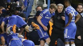 Jose Mourinho gatecrashes the Chelsea celebrations to get his tactics across.