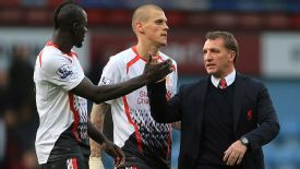 Brendan Rodgers celebrates with Mamadou Sakho (left) after win at West Ham.