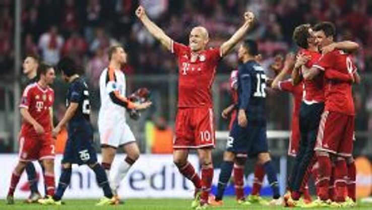 Arjen Robben puches the air after Bayern Munich reached the Champions League semifinals.
