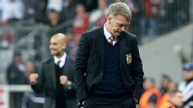 David Moyes turns away from the pitch as Man United slip out of the Champions League.
