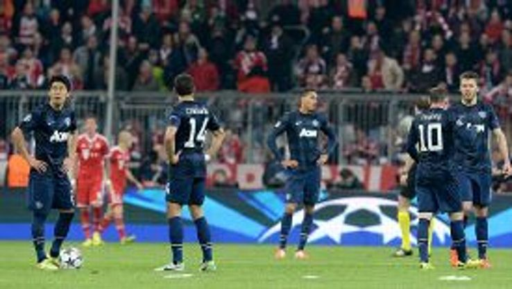 Man United players know the game is up after Bayern scored their third goal.
