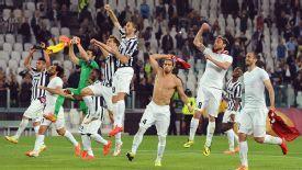 Juventus celebrate reaching the Europa League semifinals after beating Lyon.