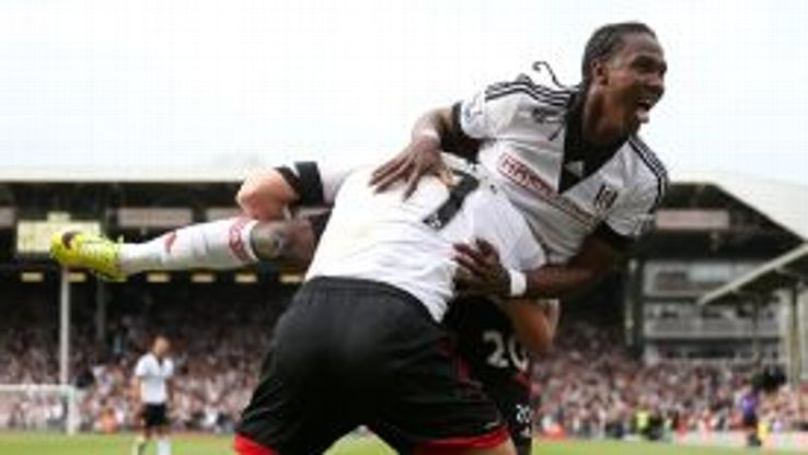 Fulham's Hugo Rodallega celebrates scoring the opening goal of the match