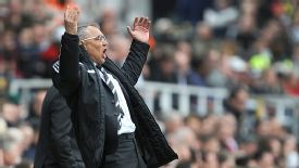 Fulham manager Felix Magath gets animated on the touchline