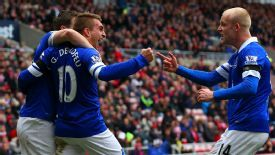 Seamus Coleman, Gerard Deulofeu and Steven Naismith of Everton celebrate