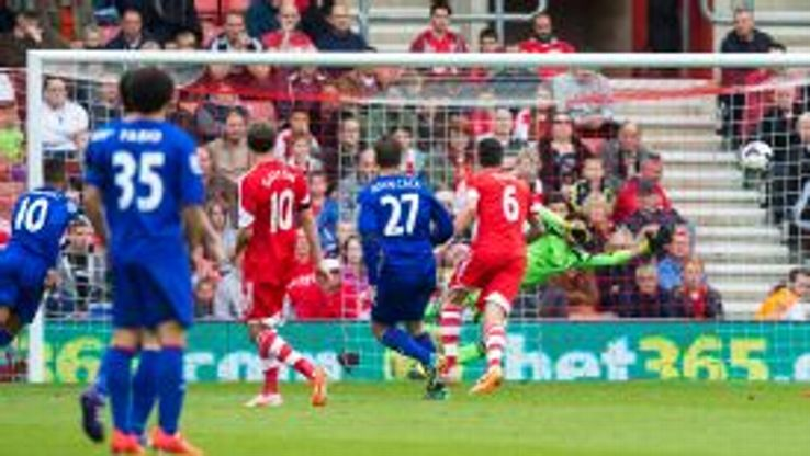 Juan Cala hammers home what proved to be Cardiff's winner at Southampton.