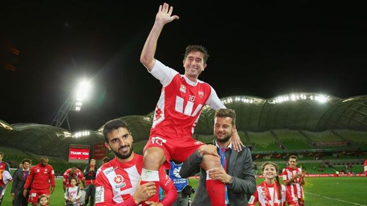 Harry Kewell of the Heart is lifted off the field after playing his final match and retiring from football during the round 27 A-League match between Melbourne Heart and the Western Sydney Wanderers at AAMI Park on April 12, 2014 in Melbourne, Australia.