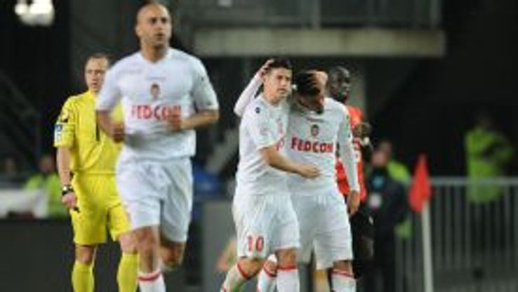Monaco's French forward Emmanuel Riviere celebrates scoring.
