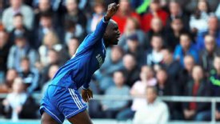 Demba Ba celebrates after scoring the winner against Swansea.