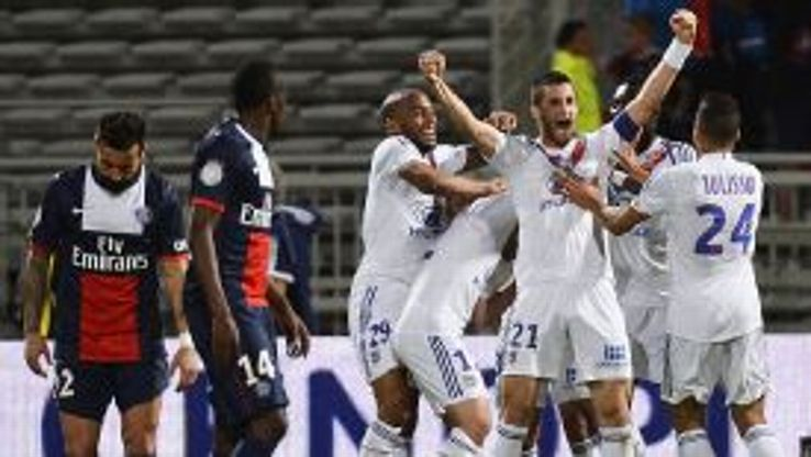 Maxime Gonalons punches the air after scoring what proved to be Lyon's winner against PSG.
