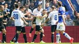 Mauro Icardi is mobbed after scoring his first goal at Sampdoria.