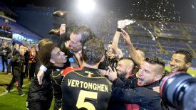 Marc Wilmots and the Belgium squad celebrate World Cup qualification.