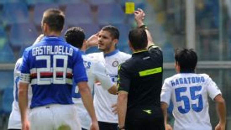Mauro Icardi was booked for his celebration after scoring Inter's first goal in a 4-0 win at Sampdoria