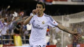 Angel Di Maria celebrates after giving Real Madrid the lead against Barcelona.