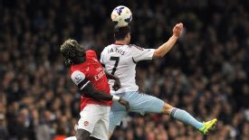 Bacary Sagna and Matt Jarvis challenge for the ball on Tuesday.