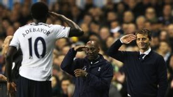 Tim Sherwood reversed the actions of Andre Villas-Boas by bringing Emmanuel Adebayor back in from the cold.