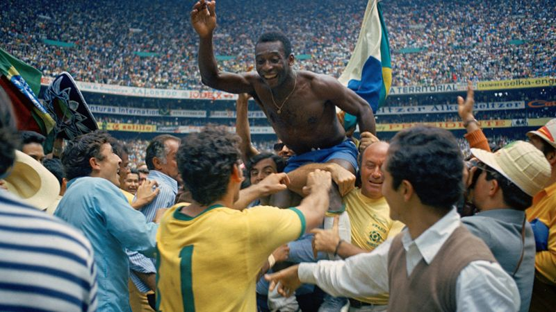 Brazil's Pele is hoisted on the shoulders of his teammates after winning the 1970 World Cup.