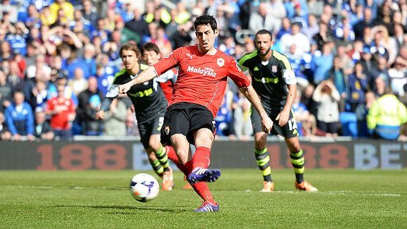 Peter Whittingham scores from the spot to level for Cardiff against Stoke.
