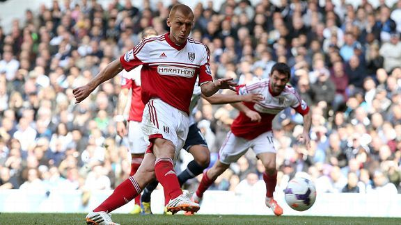 Steve Sidwell misses from the penalty spot during Fulham's 3-1 defeat at Tottenham.