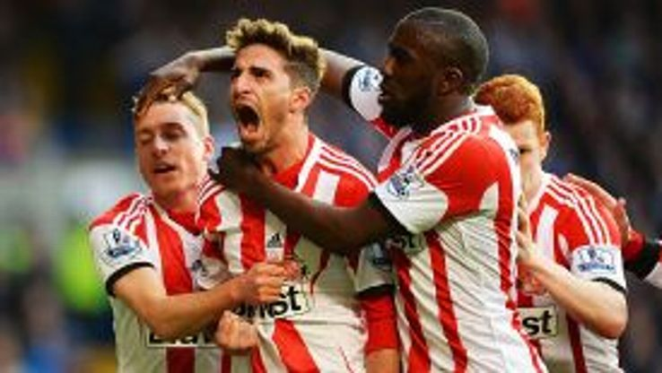Liverpool loanee Fabio Borini celebrates after putting Sunderland in front against his former club Chelsea at Stamford Bridge.