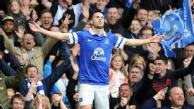 Kevin Mirallas celebrates after doubling Everton's lead at home to Man United.
