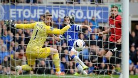 David De Gea can't keep out Kevin Mirallas' shot which doubled Everton's advantage.