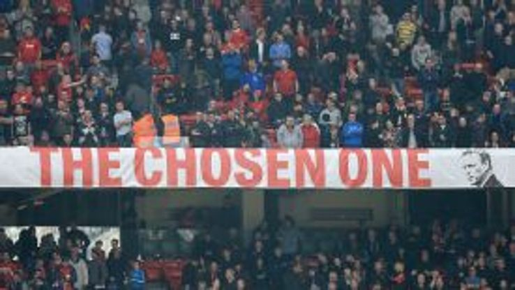 David Moyes was chosen by Sir Alex Ferguson but the banner at Old Trafford split fans down the middle.