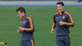 Cristiano Ronaldo and Gareth Bale Real Madrid training
