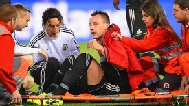 John Terry is forced off injured in the draw at Atletico.